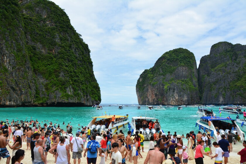 Famous crowded beautiful beach in Maya Bay, Phi Phi Leh