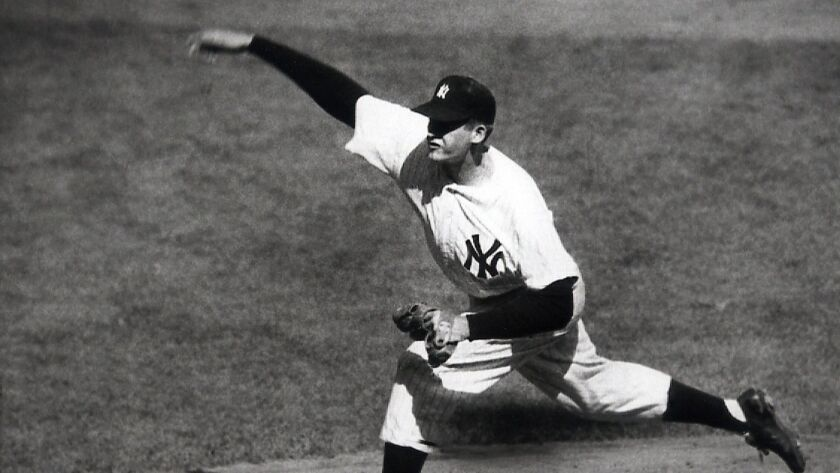 New York Yankees right-hander Don Larsen delivers a pitch against the Brooklyn Dodgers during his perfect game in the World Series on Oct. 8, 1956.