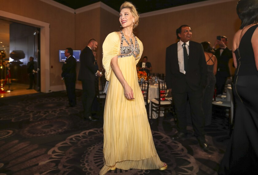 Miss: Cate Blanchett in a buttery-yellow Mary Katrantzou gown.