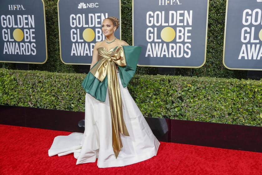 Miss: Jennifer Lopez in very bow-forward Valentino gown.