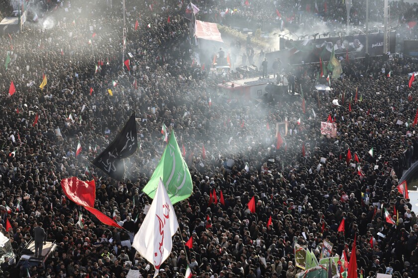 Mourners mass in Tehran during the funeral Jan. 6 for Iranian Gen. Qassem Suleimani.