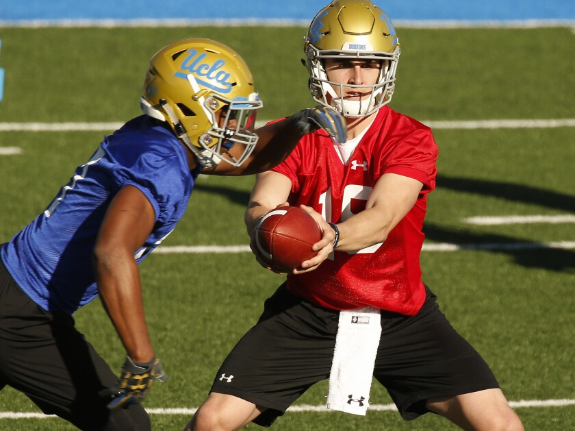 Matt Lynch (15) came to UCLA as a quarterback before moving to tight end last season.