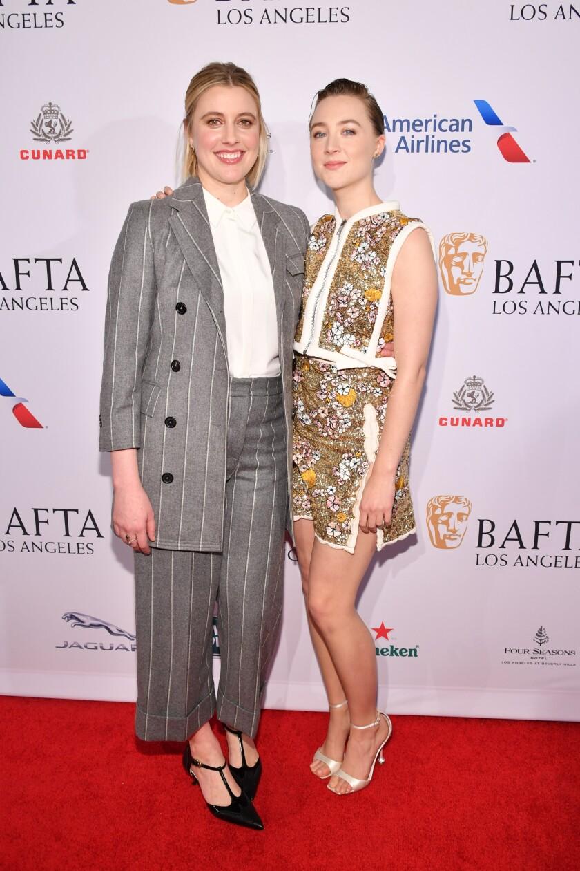 Greta Gerwig and Saoirse Ronan at the BAFTA tea party.