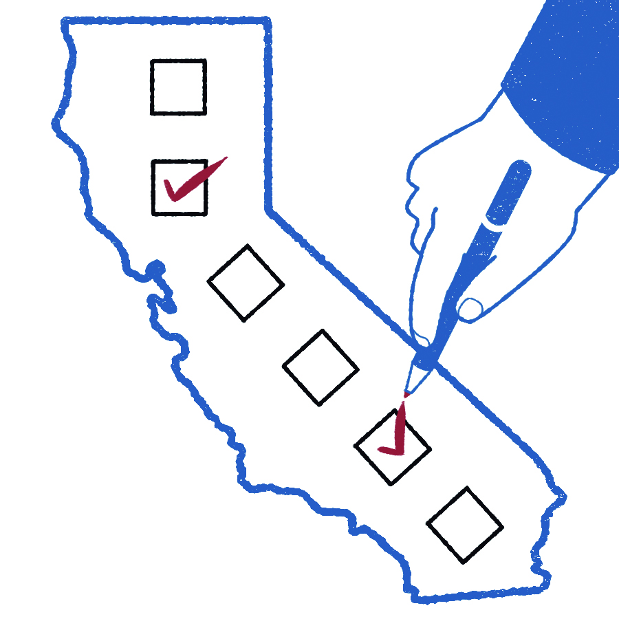 Illustration of California as a ballot
