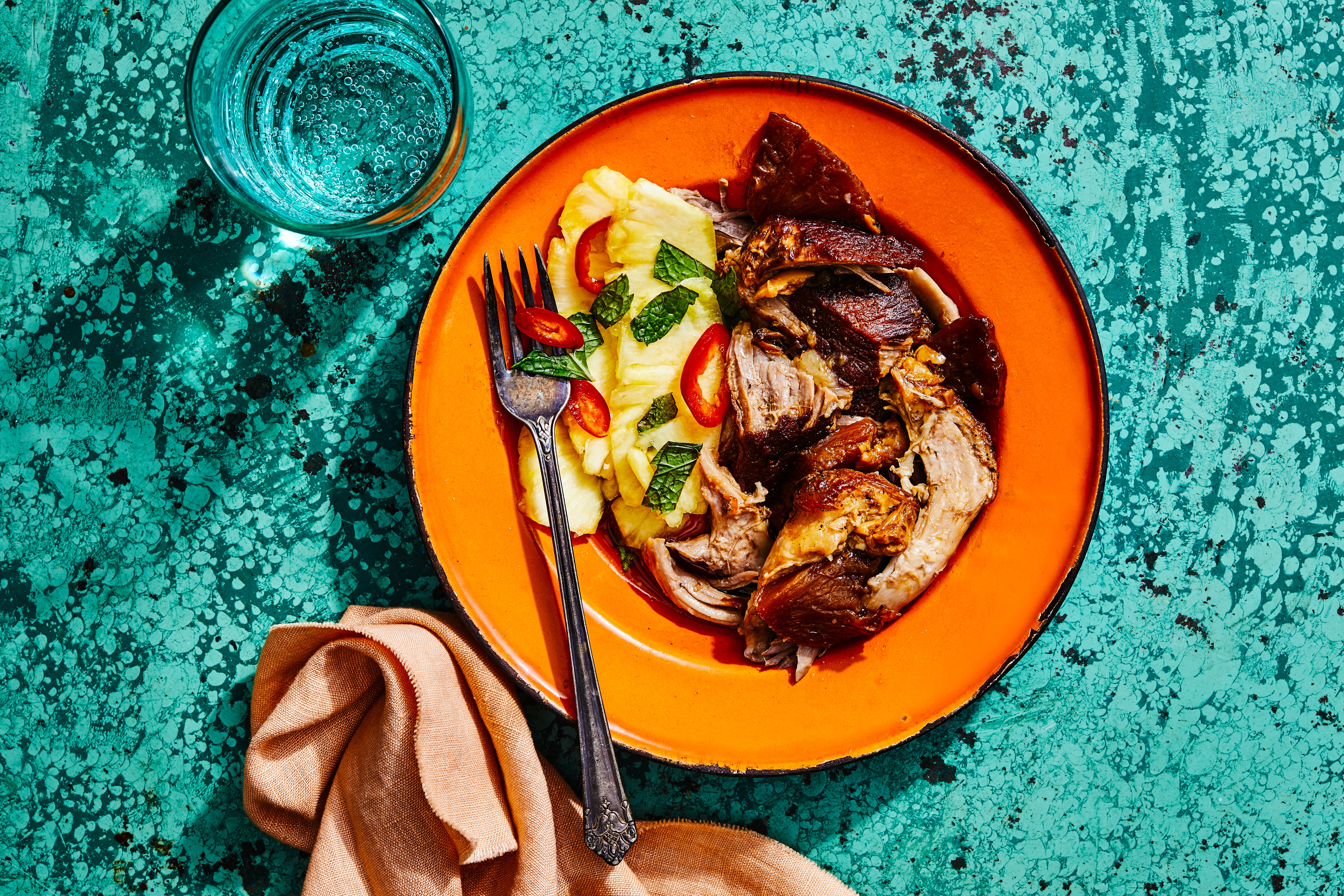 Pork and Pineapple Adobo Roast with Pickled Pineapple Salad