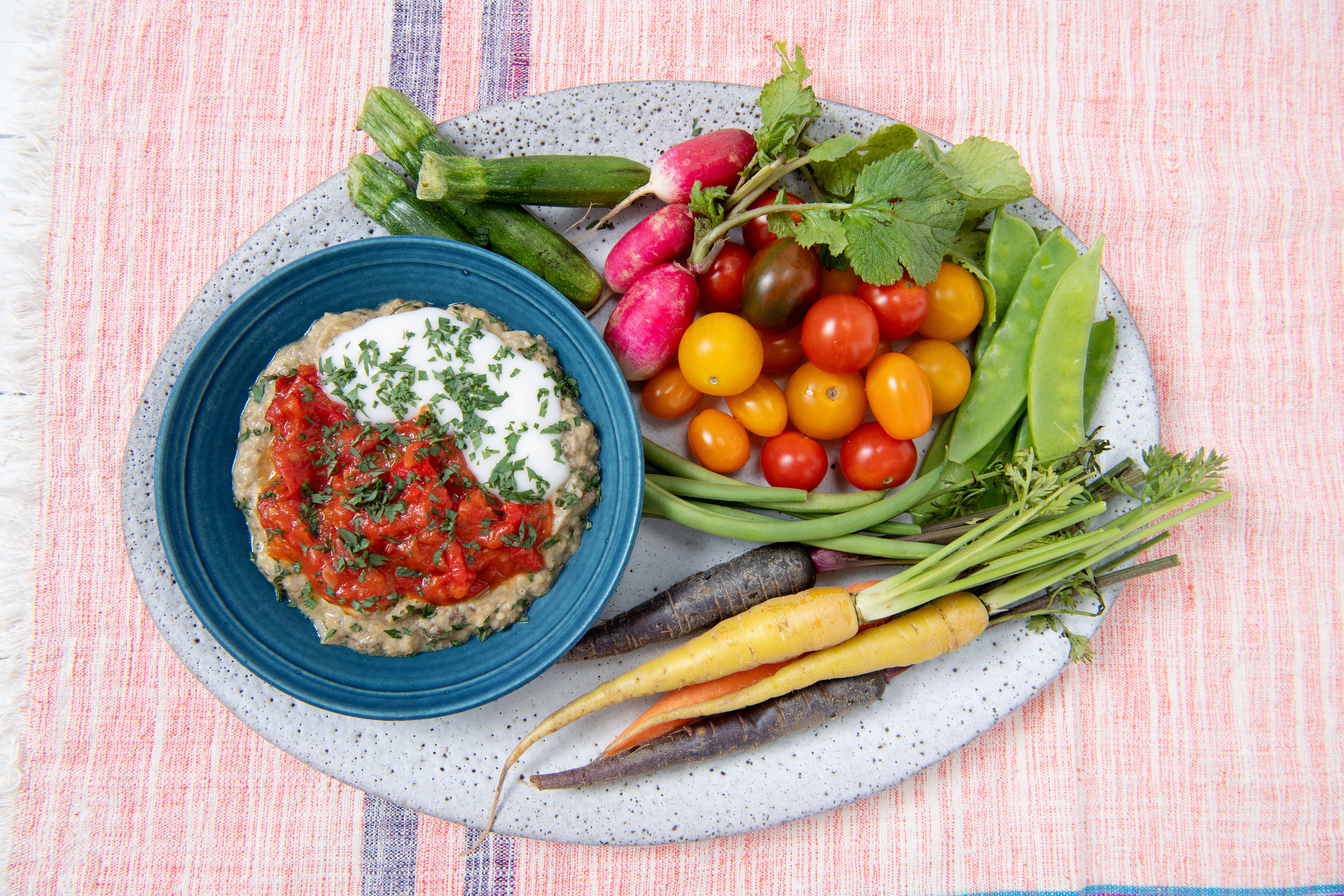 Smoky Eggplant Dip With Ginger and Tomato Chutney
