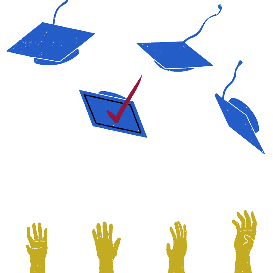 Illustration of college grads throwing their caps in the air like they just don't care