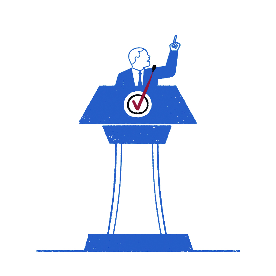 Illustration of a person at a  podium