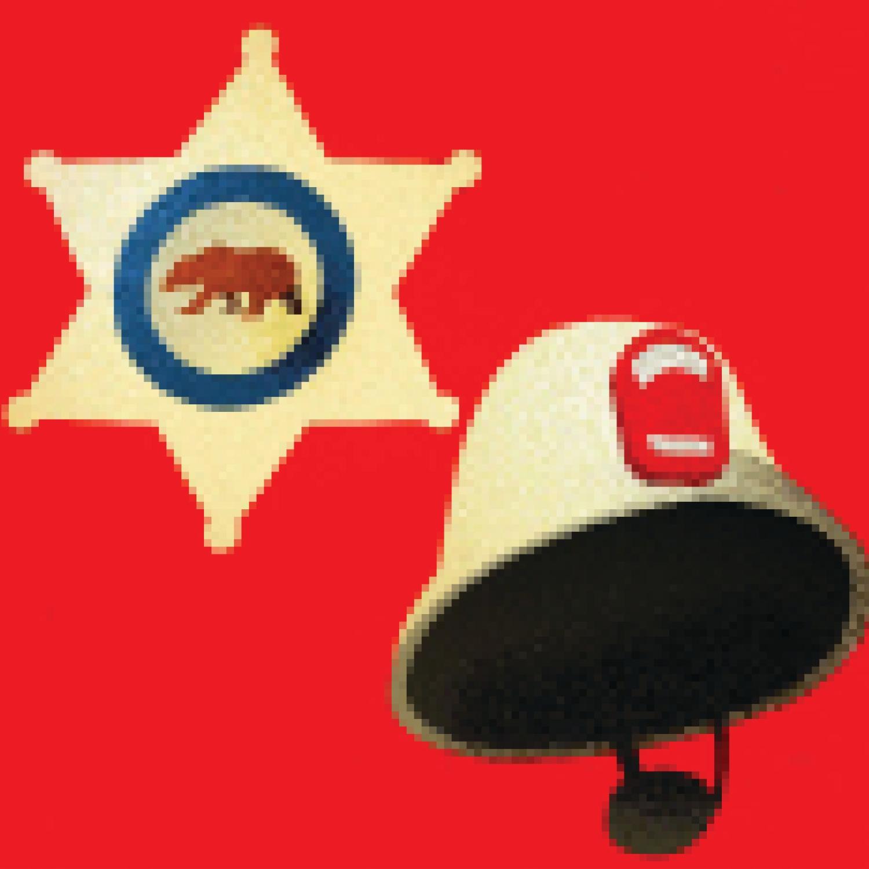 Illustration of sheriff's badge and firefighter's helmet