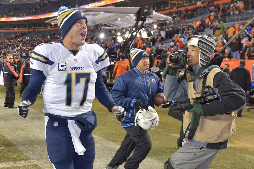 Philip Rivers. shouting to fans as he runs off the field after the Chargers' victory over the Denver Broncos on Dec. 12, has been at the center of some of the team's epic games.