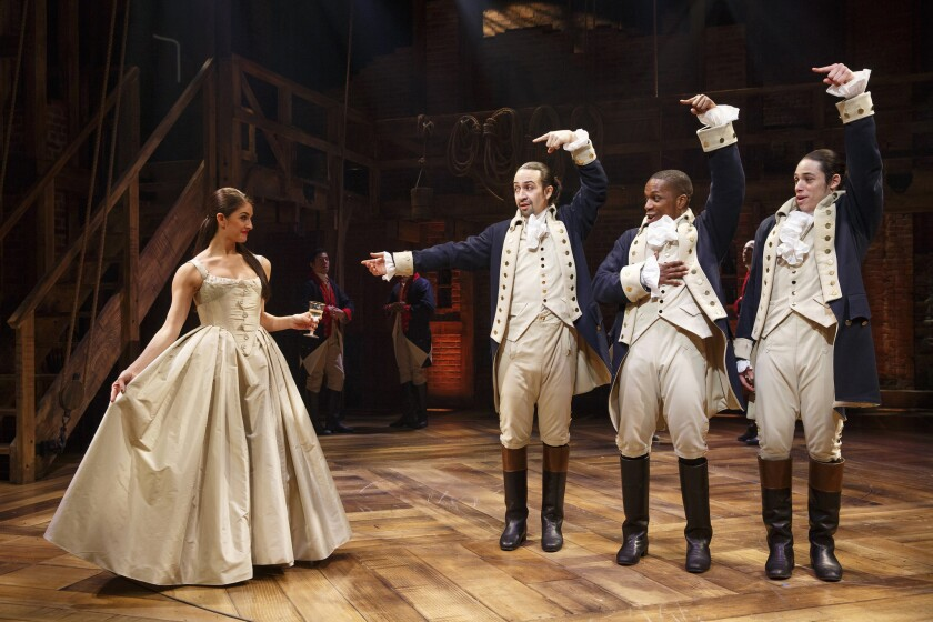 "The original Broadway cast of ""Hamilton"" appears on stage."