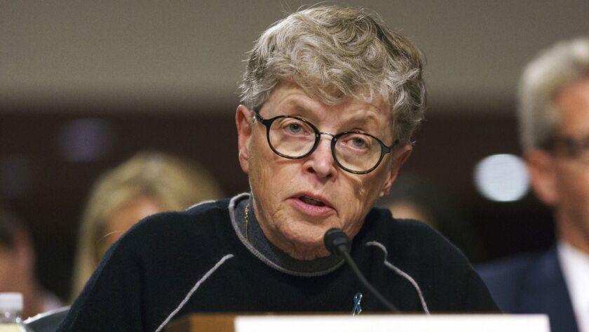 Former Michigan State President Lou Anna Simon testifies before a Senate subcommittee in Washington on June 5.