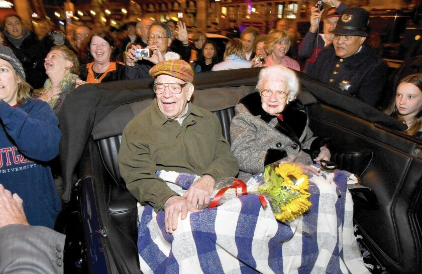 WIlliam Del Monte and Rose Cliver, survivors of the 1906 San Francisco earthquake and fire, are shown at a commemoration ceremony in 2009. Del Monte died Monday, 11 days shy of his 110th birthday.