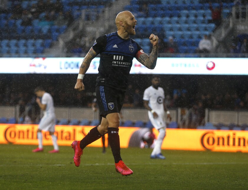 The Earthquakes' Magnus Eriksson celebrates his goal against Minnesota United FC on March 20 in San Jose.