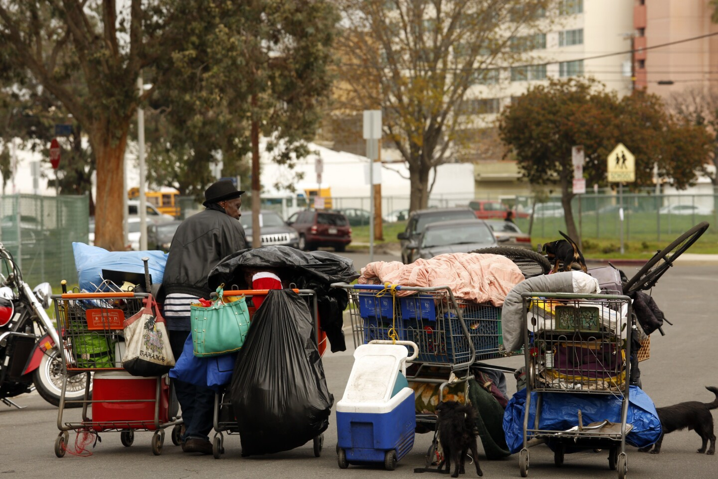 Ricky Riller carries his belongings and dogs in shopping carts before sanitation workers sweep the homeless encampments in the Manchester Square neighborhood in Los Angeles.