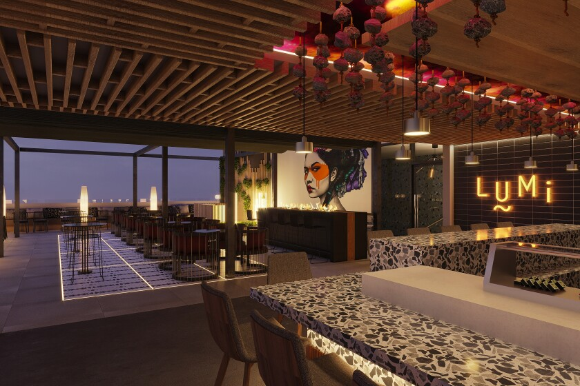 An artist's rendering of Lumi by Akira Back, a rooftop cocktail and sushi bar opening in January in the Gaslamp Quarter of San Diego.