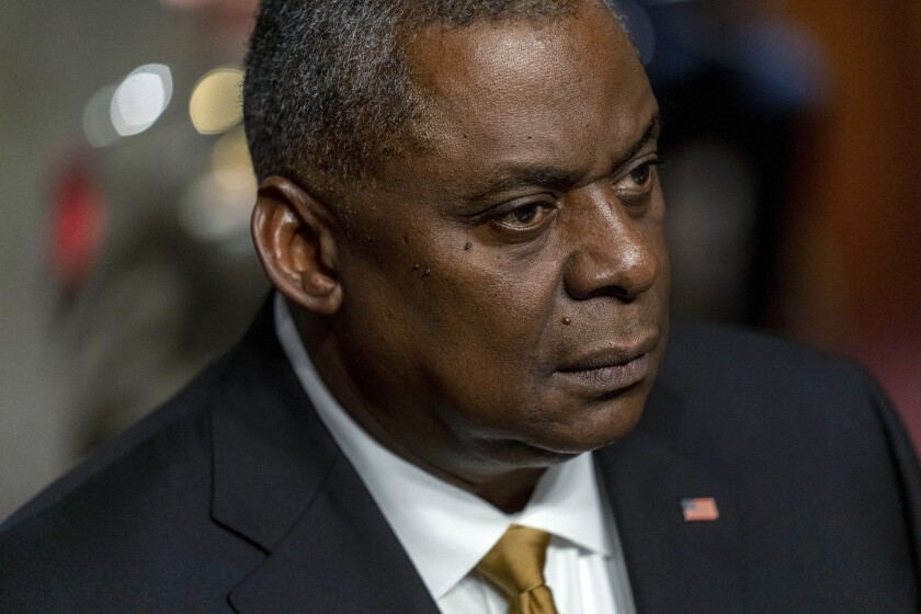 Secretary of Defense Lloyd Austin appears at a Senate Armed Services budget hearing on Capitol Hill in Washington