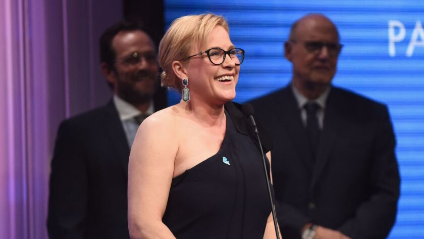 BEVERLY HILLS, CA - APRIL 01: Honoree Patricia Arquette accepts the Vanguard Award onstage during t