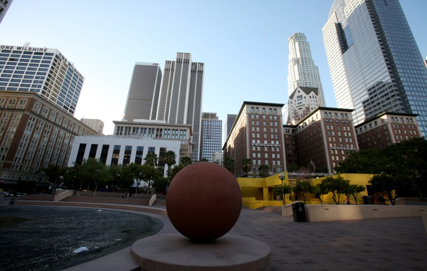 Pershing Square, paved with cement, in downtown Los Angeles.