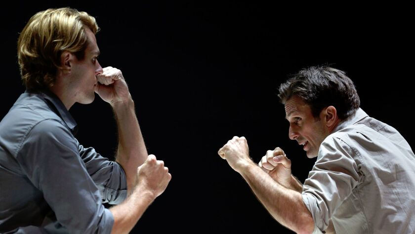 "Dave Register as Rodolpho and Frederick Weller, as Eddie, in Arthur Miller's ""A View from the Bridge"" at the Ahmanson Theatre in downtown Los Angeles."