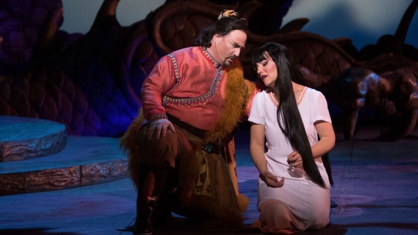 "Tenor Carl Tanner as Calaf and Lise Lindstrom as Turandot in San Diego Opera's ""Turandot,"" now playing at the San Diego Civic Theatre."
