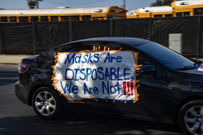 A recent car caravan protest in Compton over safety conditions for teachers.