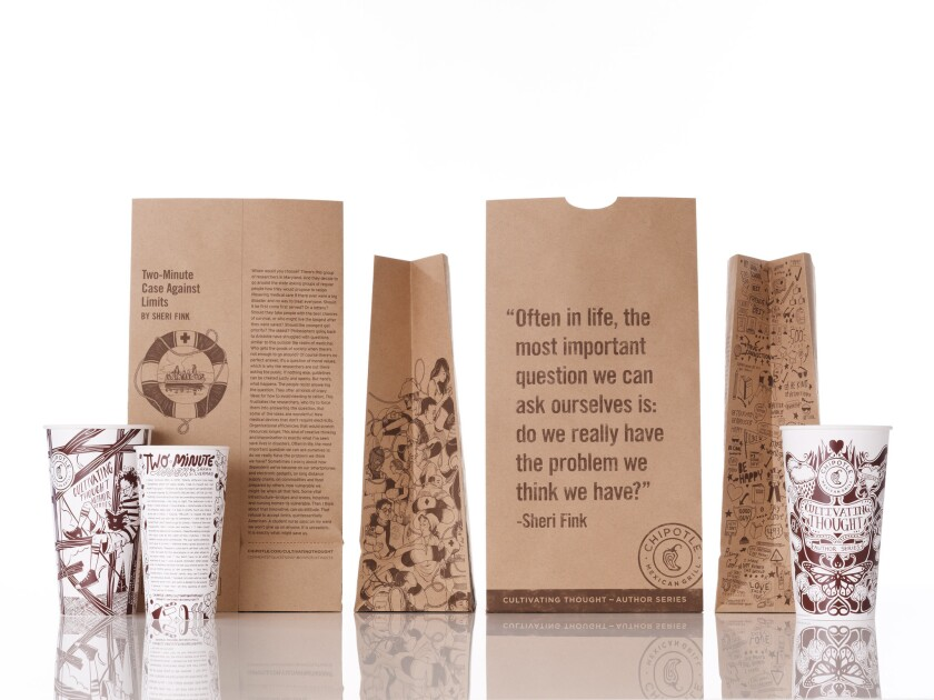 Chipotle's cups and bags featuring the work of famous writers. Now students can enter for a chance to see theirs included, plus $20,000.