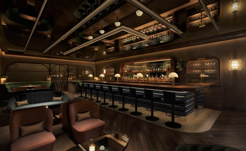 A design rendering of the speakeasy-style cocktail bar and lounge for the planned Flamingo steakhouse.