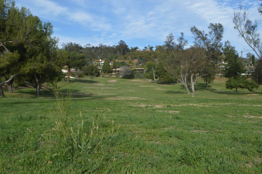 Weeds and large patches of bare ground are visible on the fifth hole of Fallbrook Golf Club in this March, 2016 photo.