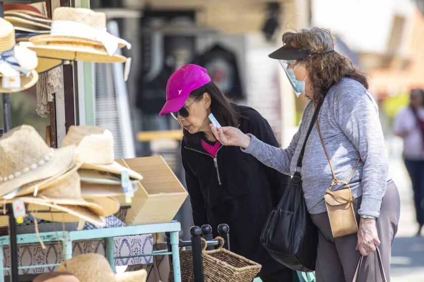 Shoppers on S. Catalina Avenue in the Riviera Village  area of Redondo Beach