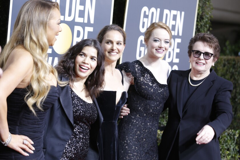 "Black is the color of the evening at Sunday's Golden Globes. From left are Mariah Carey, America Ferrera, Natalie Portman, Emma Stone and Billie Jean King, whom Stone portrayed in ""Battle of the Sexes."""