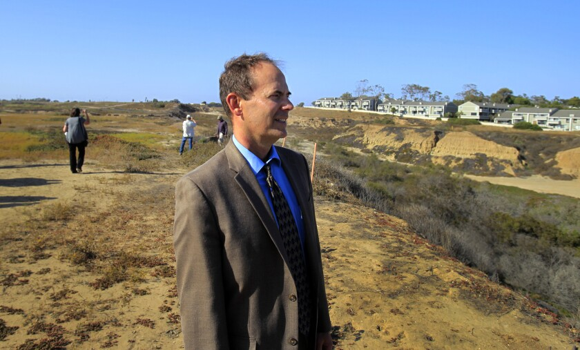 California Coastal Commission Executive Director Charles Lester at the site of a proposed development project near Newport Beach in 2014.