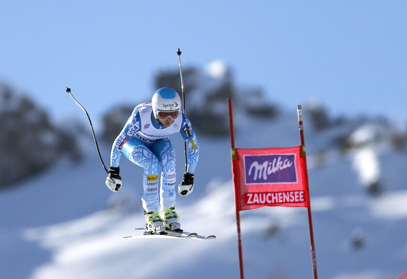 Julia Mancuso, of the United States, competes during an alpine ski World Cup women's downhill, in Altenmarkt Zauchensee, Austria, Saturday, Jan. 11 , 2013. (AP Photo/Marco Trovati)