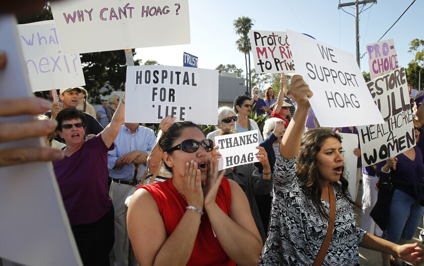 Outside Hoag Hospital in Newport Beach last week, demonstrators gathered to voice their opinions about the hospital's decision to halt elective abortions.
