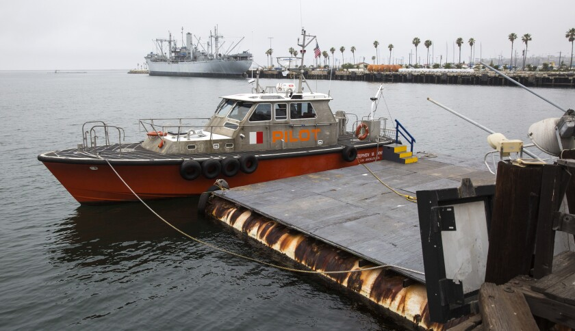 Los Angeles Pilot Service vessel Stephen M. White and crew at dock in San Pedro, Calif., on June 9, 2016.