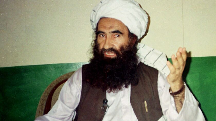 Jalaluddin Haqqani, founder of the militant group the Haqqani network, speaks Aug. 22, 1998, in Miram Shah, Pakistan.