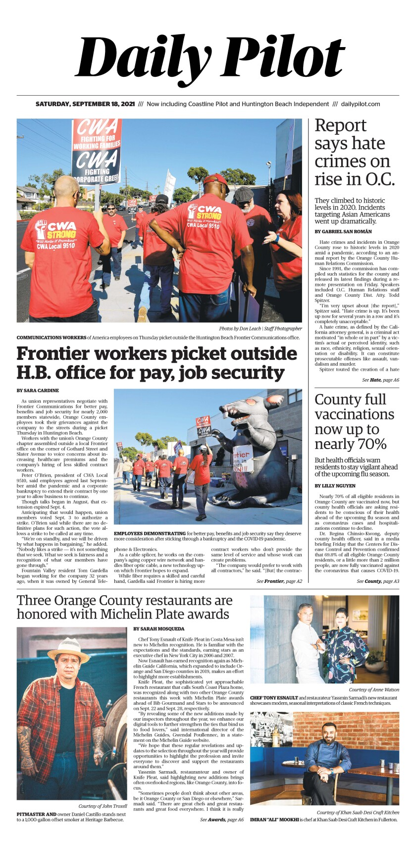 Front page of Daily Pilot e-newspaper for Saturday, Sept. 18, 2021.