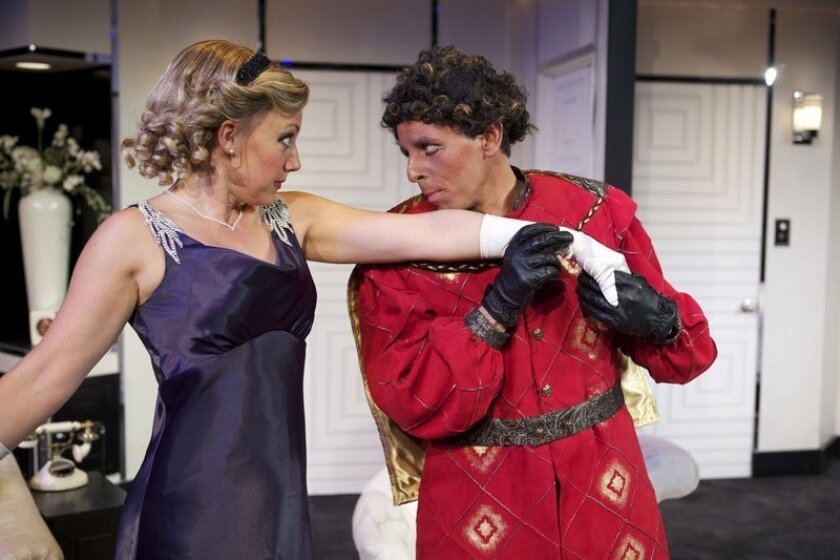 """Courtney Corey and Christopher M. Williams in """"Lend Me a Tenor"""" at North Coast Repertory Theatre."""