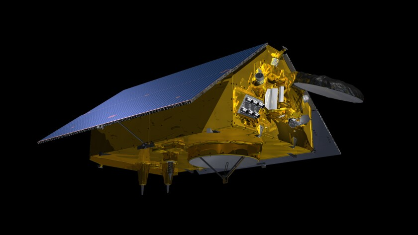 An illustration of the Sentinel-6 spacecraft.