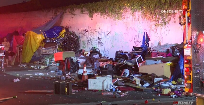 A homeless man was killed early May 1 after police say he was struck by an out-of-control car in South Los Angeles.