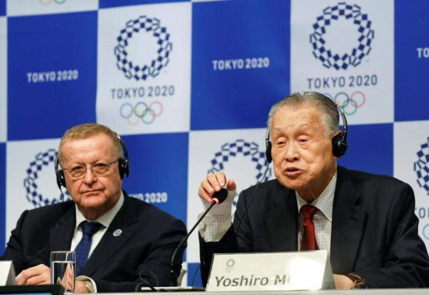 El presidente de la Comisión de Coordinación para los próximos Juegos Olímpicos de Tokio 2020, el australiano John Coates (izq), y el presidente del comité organizador de Tokio 2020, Yoshiro Mori, durante la rueda de prensa. EFE