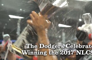 The Dodgers celebrate winning the 2017 NLCS