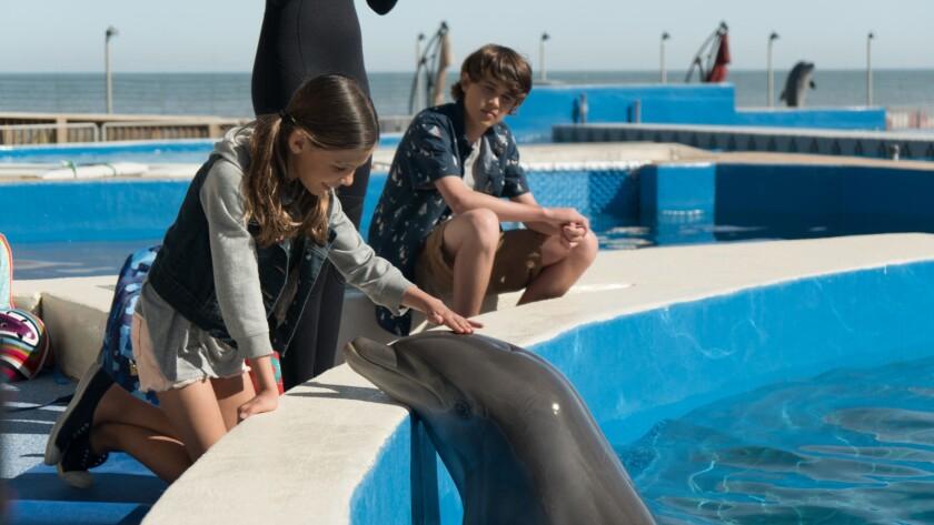 "Lola Sultan and Logan Allen in the movie ""Bernie the Dolphin."""
