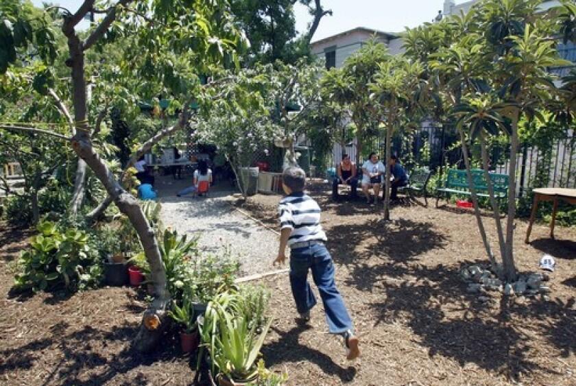 Children play in a community garden in Koreatown.