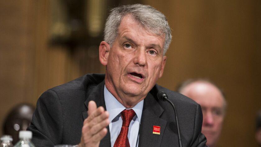 Wells Fargo CEO Timothy Sloan testifies before the U.S. Senate Banking Committee in October 2017.