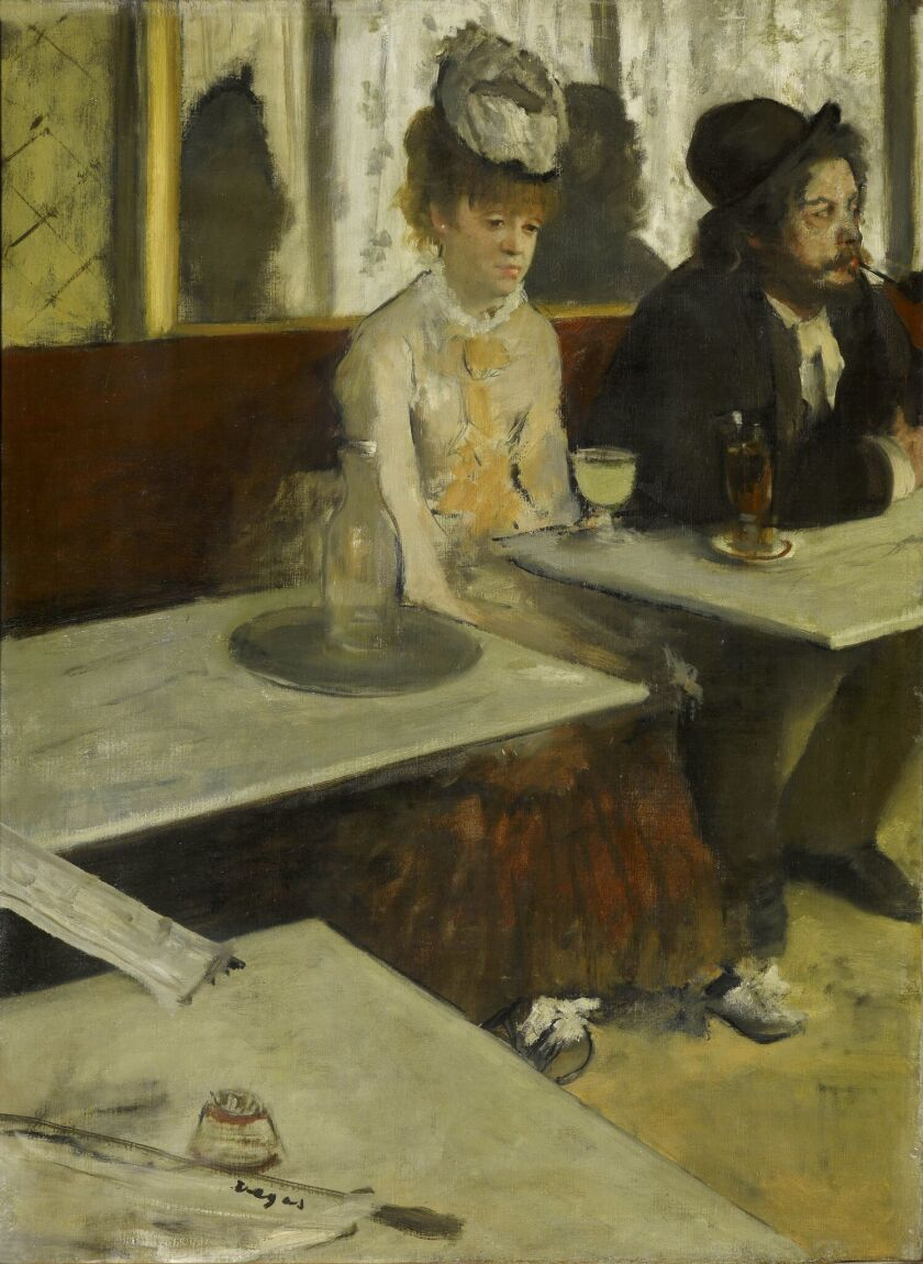 """Edgar Degas, """"In a cafe (The Absinthe Drinker),"""" 1875-76, oil on canvas"""