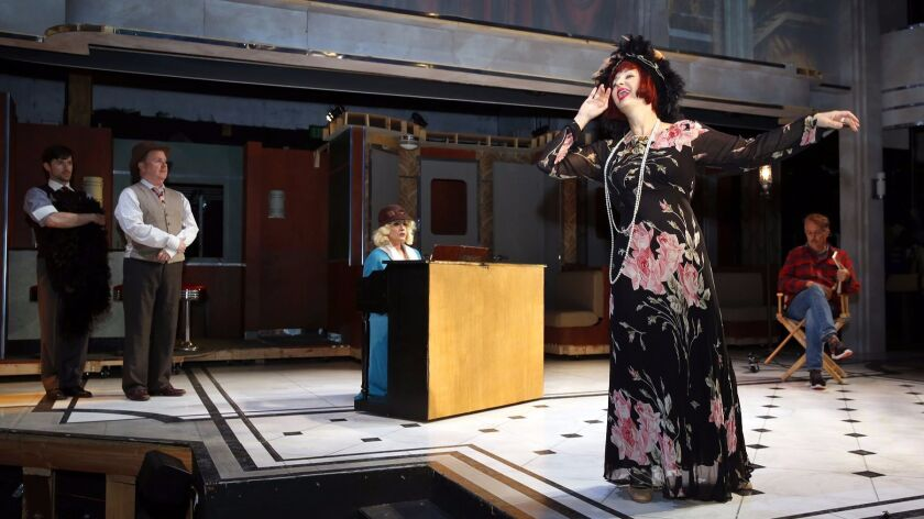 """Debra Wanger (right) and fellow cast members rehearse a scene from """"On the Twentieth Century."""""""