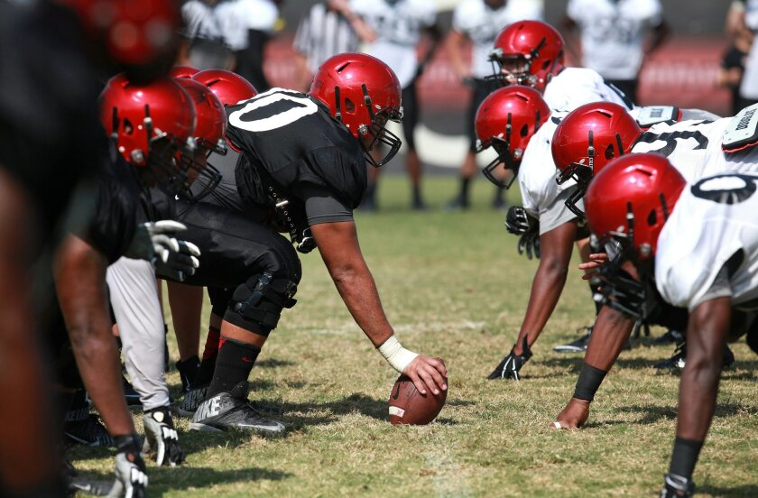 Aztecs scrimmage at practice Tuesday.