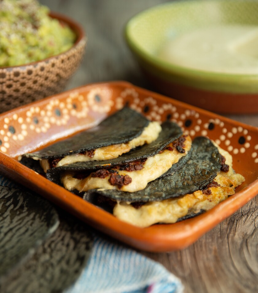 A vegan queso quesadilla prepared by Jocelyn Ramirez, chef/owner of Todo Verde.