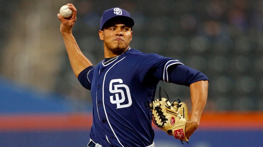 San Diego Padres starting pitcher Dinelson Lamet pitches against the New York Mets during the first inning at Citi Field.